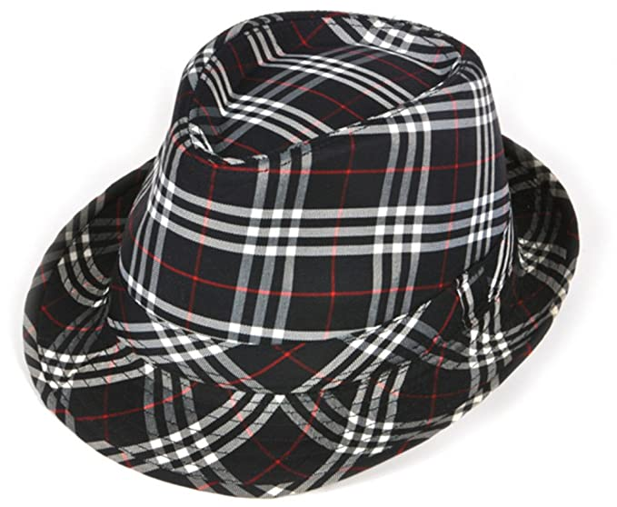 5bcdef29272 Amazon.com  Deluxe Navy Blue and White Plaid Pattern Fedora Hat  Clothing