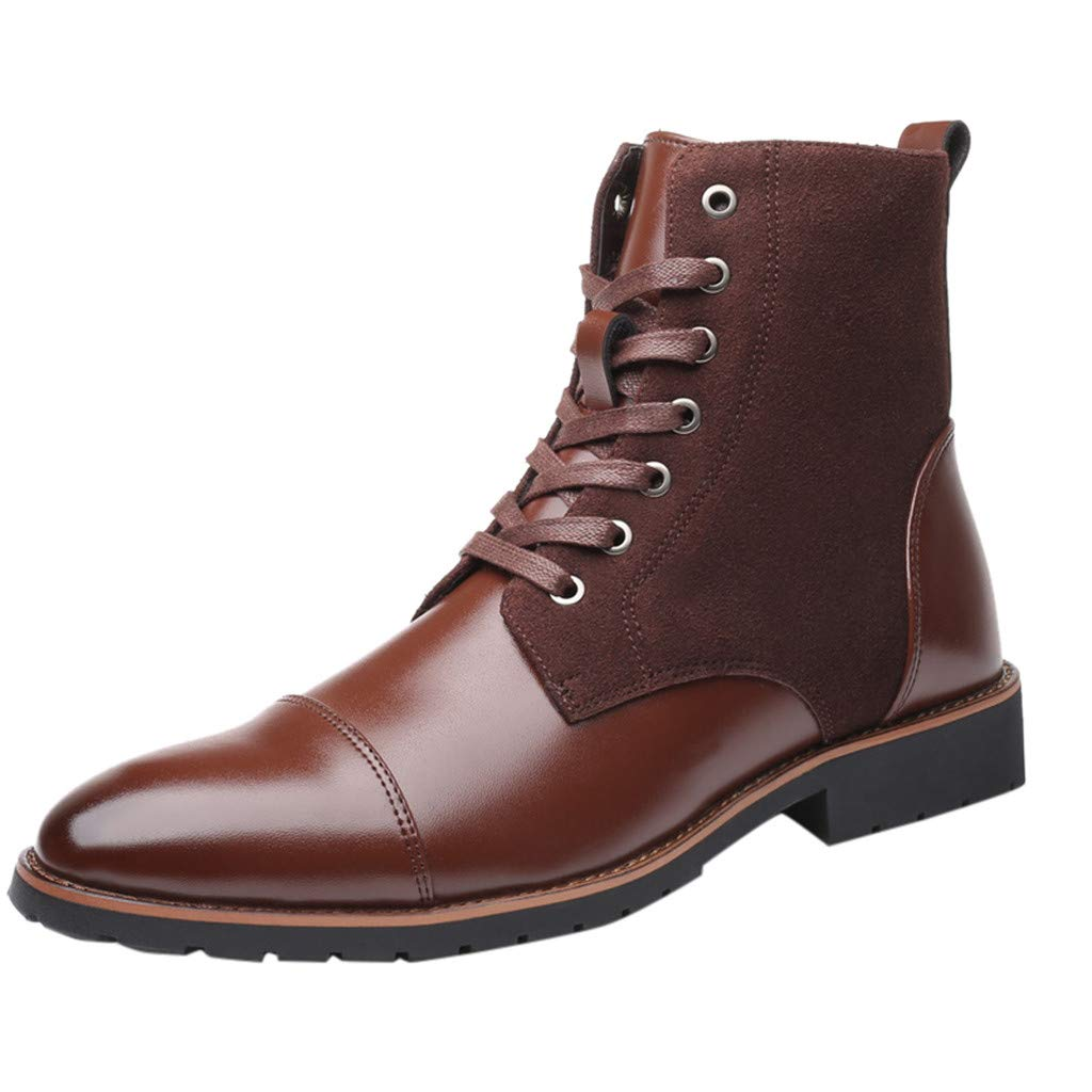 【MOHOLL】 Mens Casual Work Lace Up Classic Motorcycle Combat Boots Pointed British Wind Short Boots Motorcycle Boots Brown