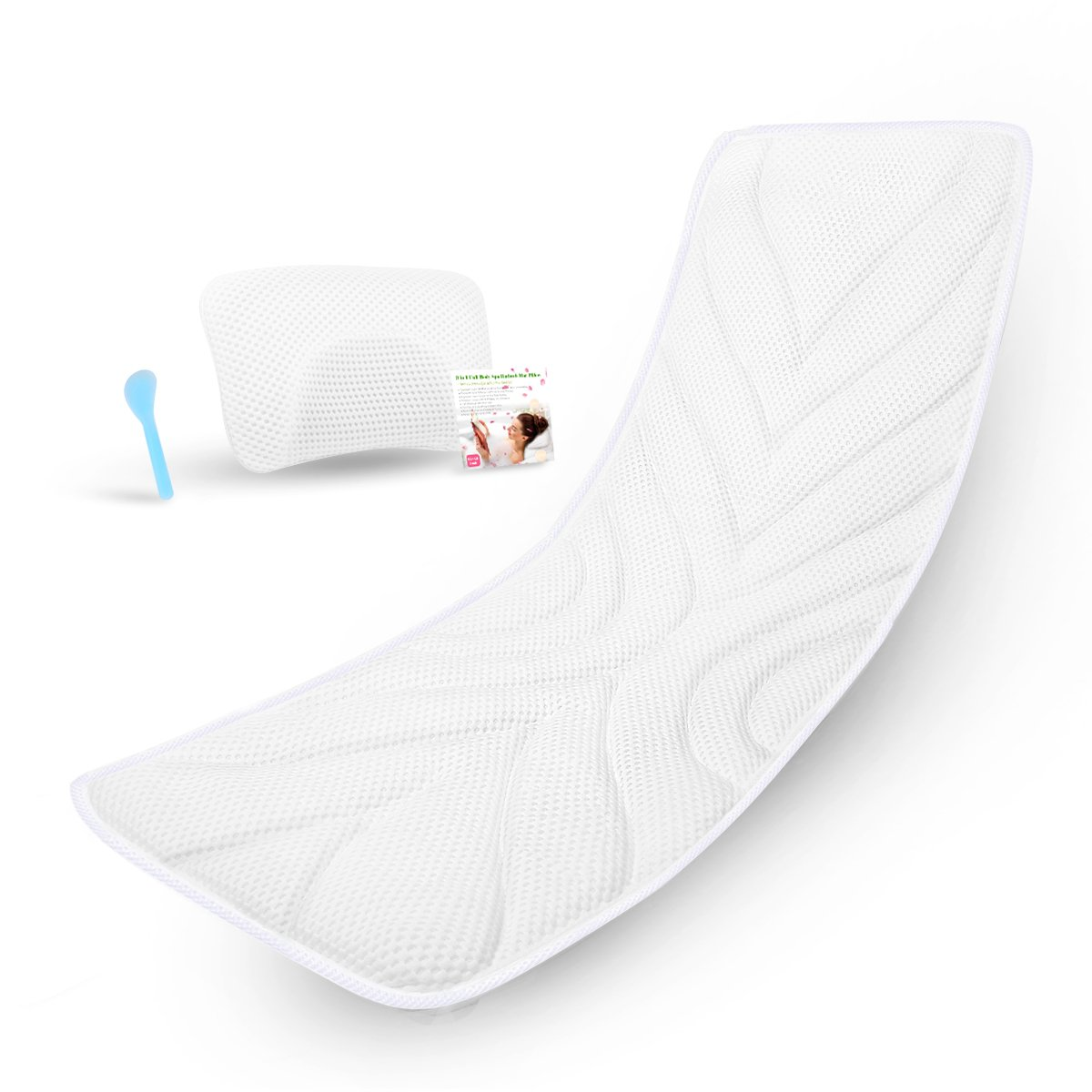 Full Body Spa Bath Pillow Mat, Luxury Soft Quilted Bathtub Cushion Mattress with Large Non Slip Suction Cups, Comfort Head Rest and Back Tailbone Support, Quick Drying and Anti Bacteria Antart