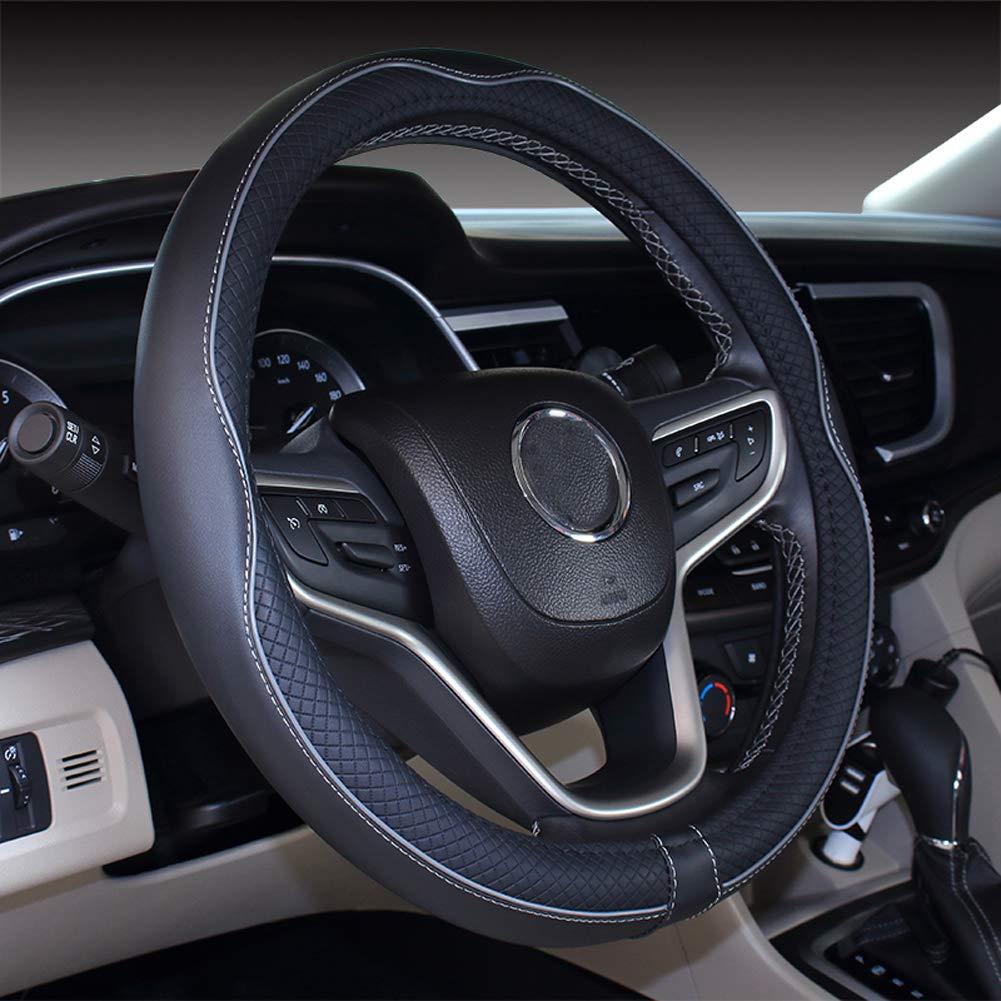 Black White Istn Mikrofaser Leder Auto Lenkradbezug 38cm f/ür die meisten Autos