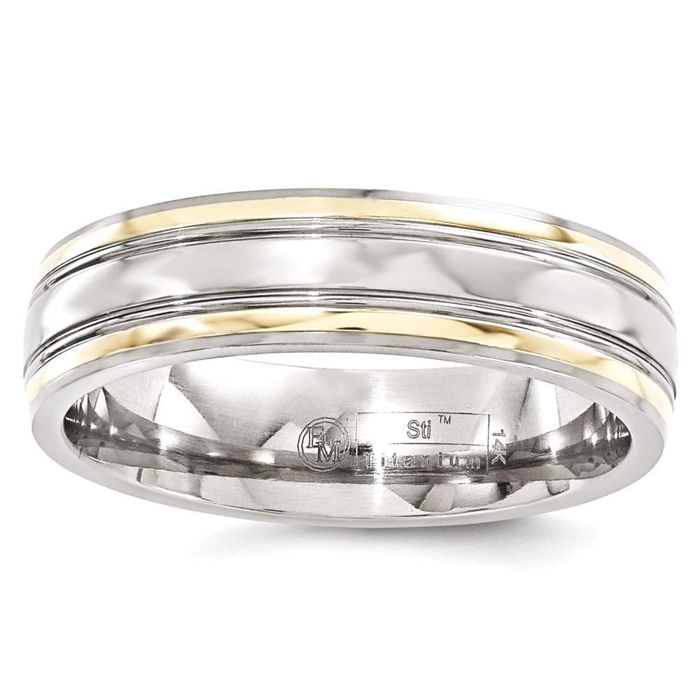 ICE CARATS Edward Mirell Titanium 14k Edge 6mm Wedding Ring Band Size 11.50 Man Precious Metal Fine Jewelry Gift Set For Women Heart