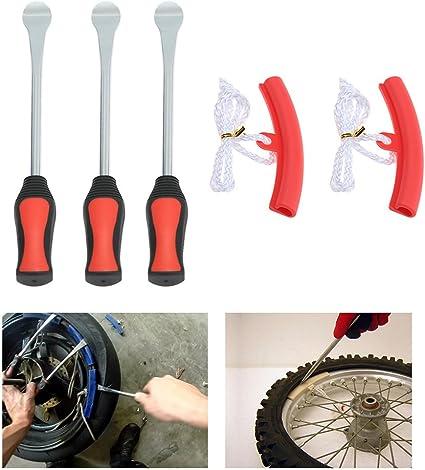 KKmoon Desmontadores de Neumático Kits Cambiador de Neumático de Bicicleta, Moto con Protectores de llanta (Rojo): Amazon.es: Coche y moto