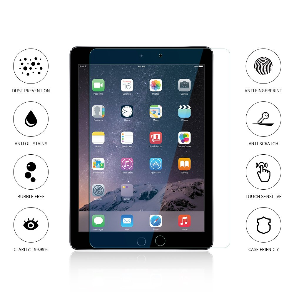 Tembin Tempered Glass Touch Screen Protector for iPad Mini 2 / 3 / 4, HD Clear 0.33 Glass HD Screen Protection for Apple iPad 7.9inch Anti Fingerprint / Scratch Resistant / Bubble Free
