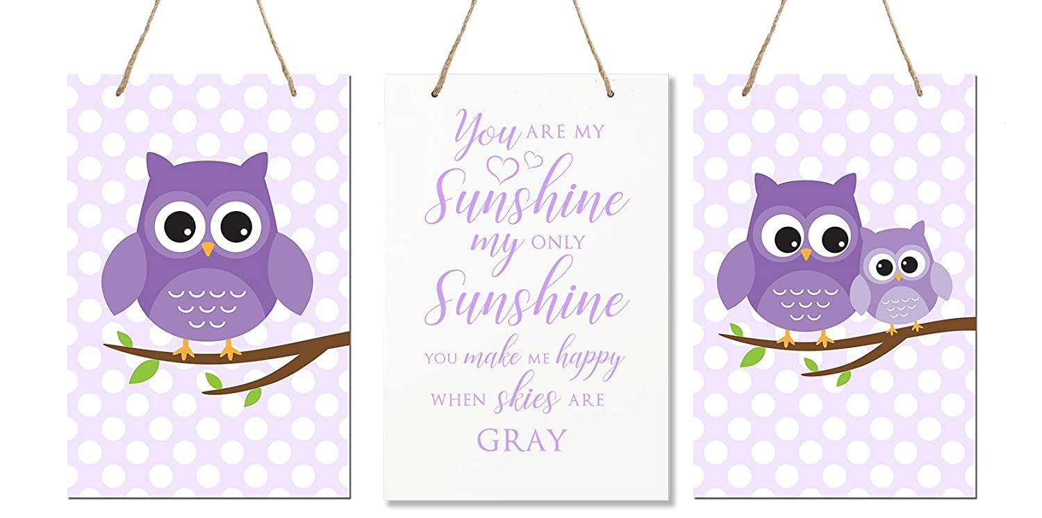 """Size 8/"""" x 12/"""" Proudly Made in USA LifeSong Milestones You are My Sunshine 3 Piece Owl Childrens Wall Decor Signs for Kids Pink /& Blue Baby/'s Boys Nursery Bedroom Girls Room"""