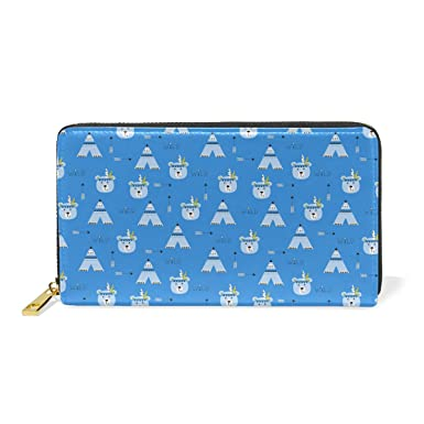 ccb2b18d355b Wild Polar Bear Blue Real Leather Zip Around Wallet Wristlet Women ...