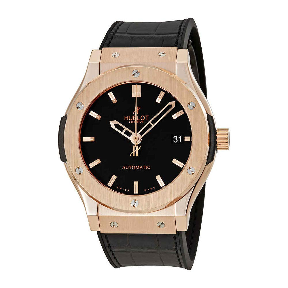 Amazon.com  Hublot Classic Fusion 18kt Gold Black Dial Mens Watch  511.OX.1180.LR  Watches d63d1fd5a04d
