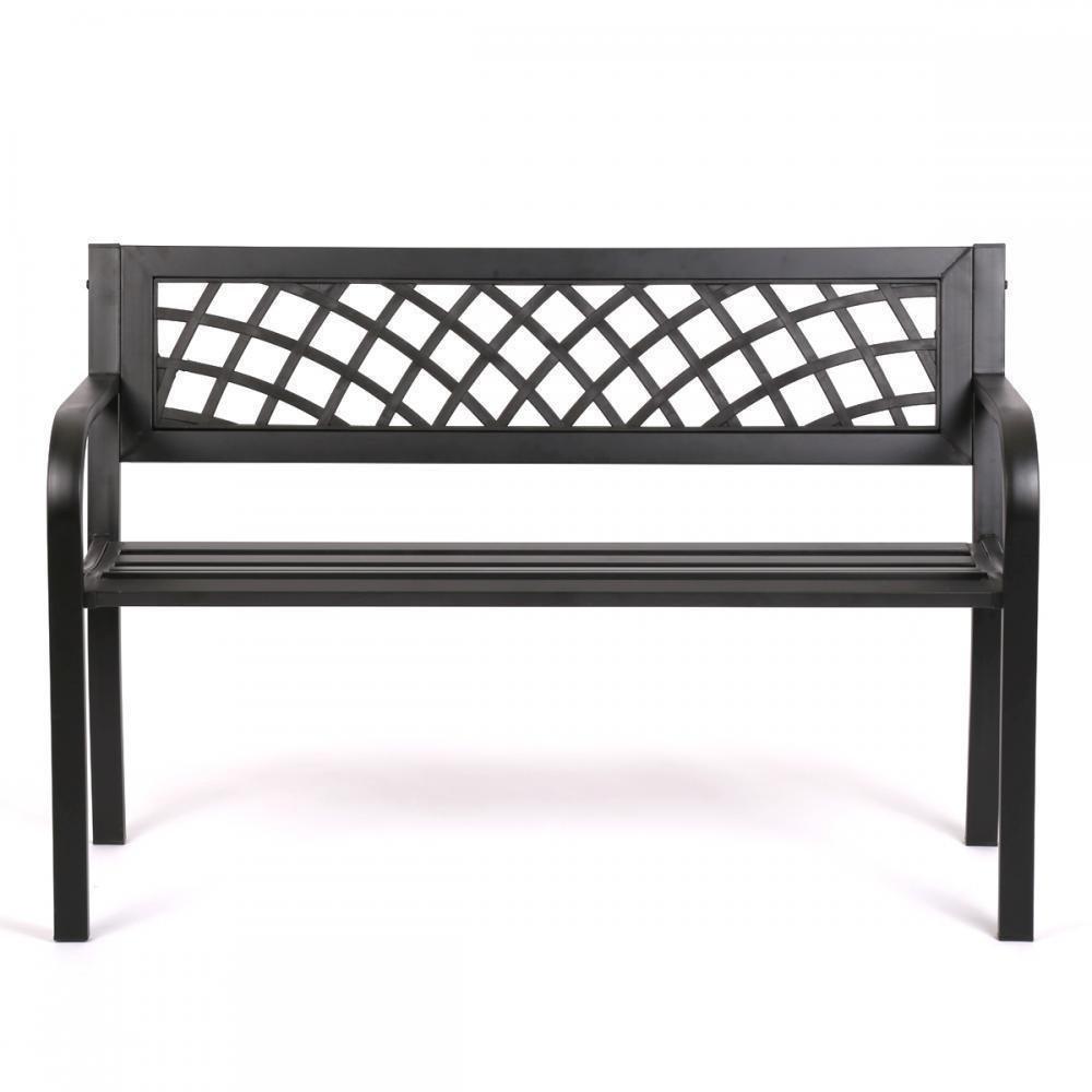Patio Park Garden Bench Porch Path Chair Outdoor Deck Steel Frame New 545