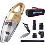 Car Vacuum Cleaner, Cordless Wet/Dry Vacuum Cleaner with 2200mAH Rechargeable Battery, 3KPA Powerful Suction Hand-held Vacuum Cleaner with Carry Bag(12V 100W Gold)