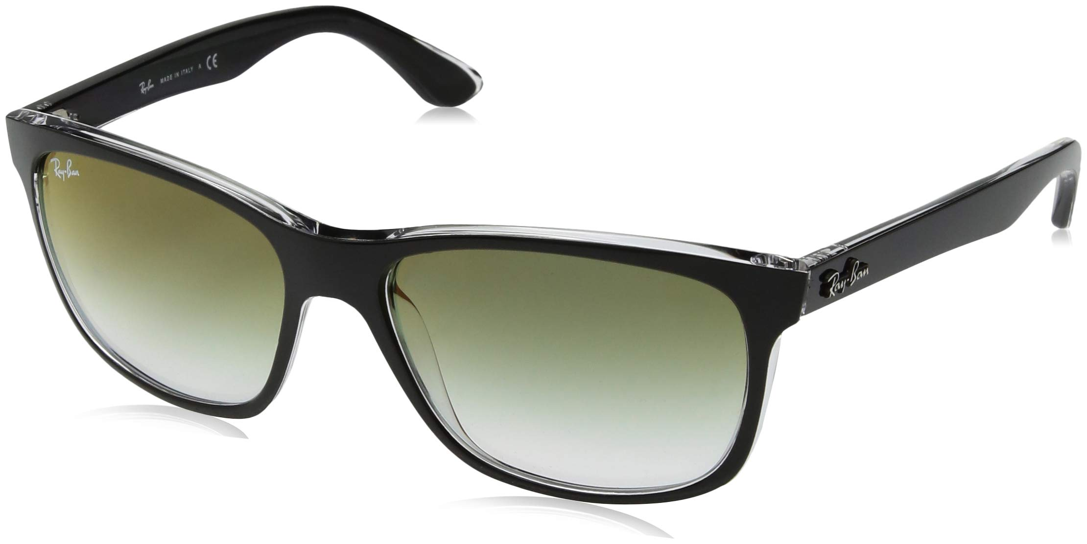 RAY-BAN RB4181 Square Sunglasses, Black On Transparent/Green Red Gradient Mirror, 57 mm by RAY-BAN