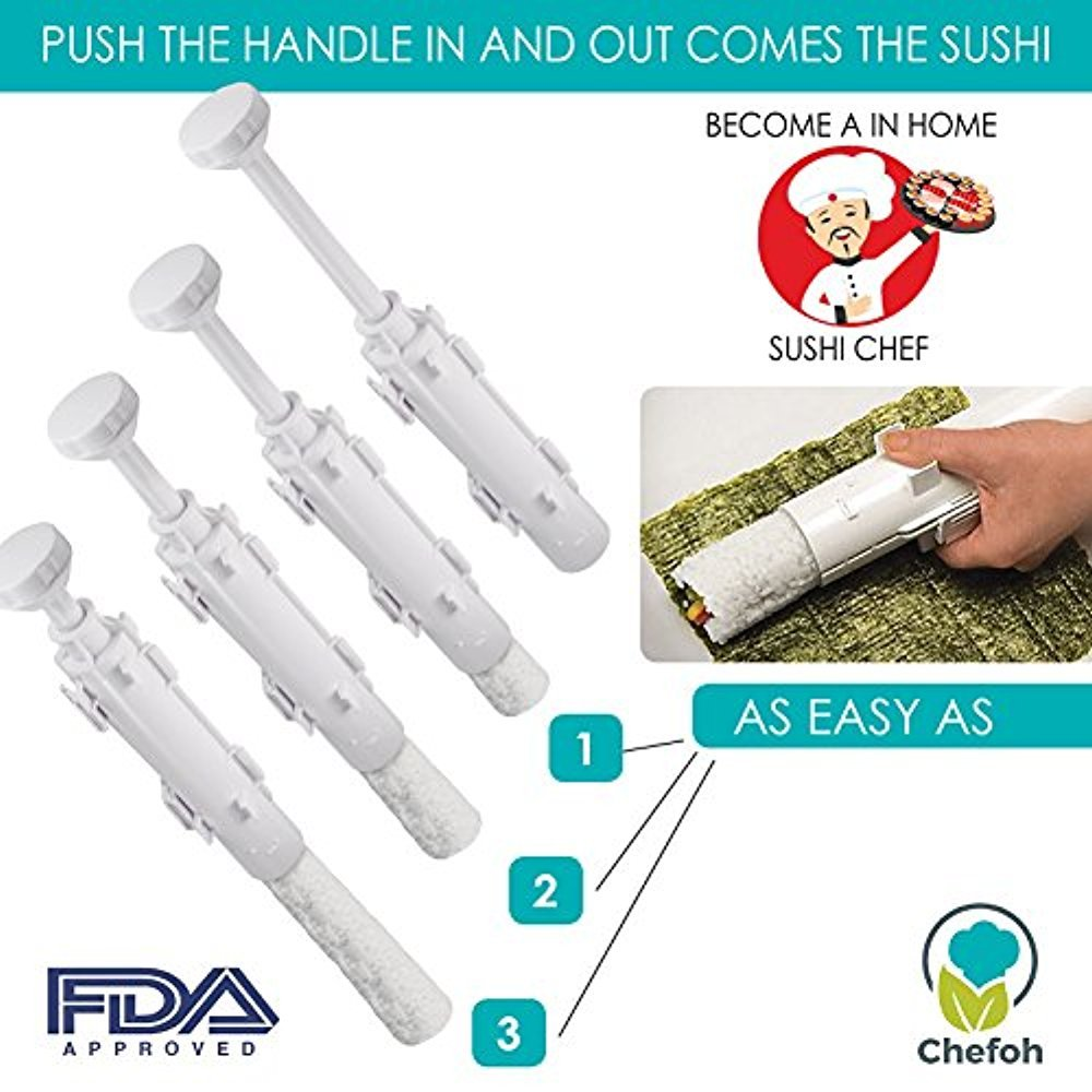 All-In-One Sushi Making Kit   Sushi Bazooka, Sushi Mat & Bamboo Chopsticks Set   DIY Rice Roller Machine   Very Easy To Use   Food Grade Plastic Parts Only   Must-Have Kitchen Appliance by Chefoh (Image #4)