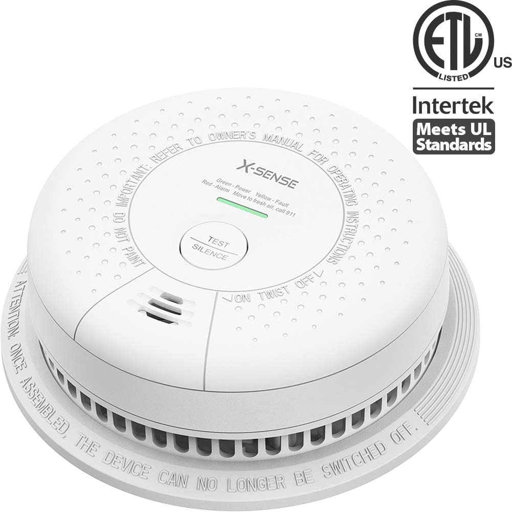 X-Sense Smoke Detector Alarm, Sees Both Fast and Slow Burning Fires, Fire Alarm with 10-Year Sealed Battery, LED Indicator Silence Button, Auto-Check, Compliant with UL 217 Standard, SD03