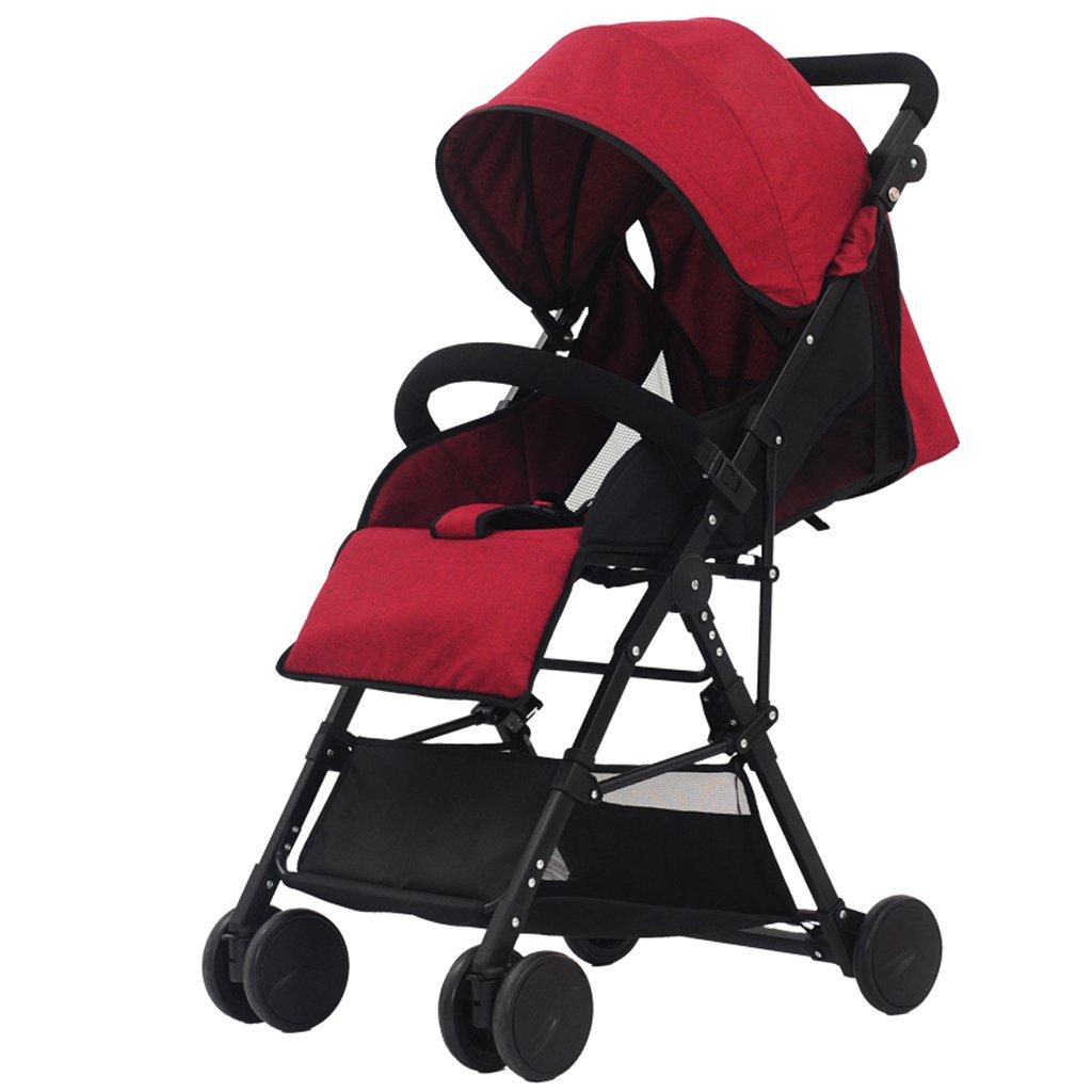 SXZHSM-Strollers Baby Strollers Ultralight Portable Foldable Lies High Landscape Kids Stroller (Gray) (Blue) (Burgundy) 60 x 98cm (Color : Burgundy)