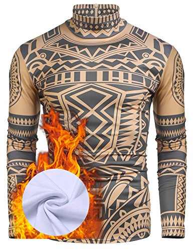 COOFANDY Men's African Tribal Tattoo Thermal Turtleneck Pullover Slim Fit Underwear by COOFANDY (Image #2)