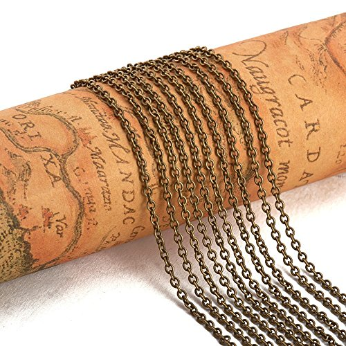 PandaHall Elite 16 Feet Brass Cable Chain Twisted Cross Necklaces Width 2mm for Jewelry Making Chain Antique Bronze