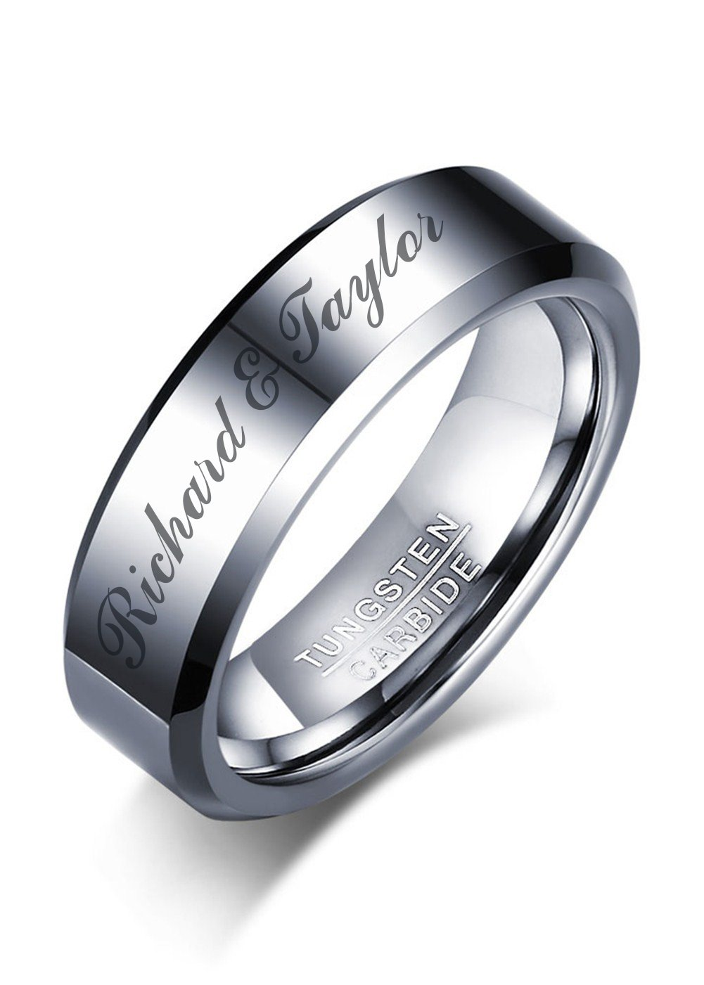 Mealguet Jewelry Personalized Simple Plain Tungsten Carbide Tungsten Carbide Ring Polished Custom Name Wedding Anniversary Band for Men,size 8