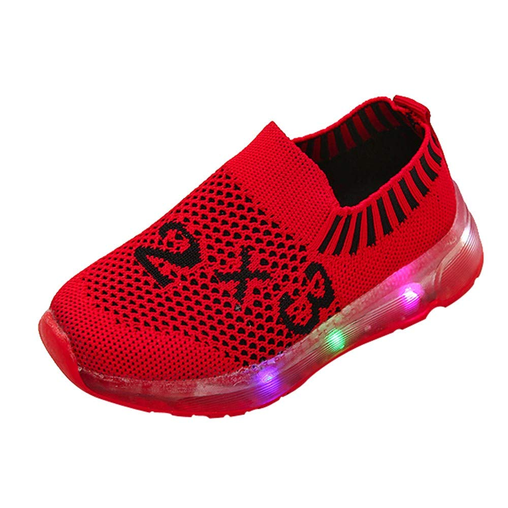 Robemon Enfants Kid Girls Garçons LED Nombre Lumineux Lumineux Sport Mesh Étudiant Chaussures