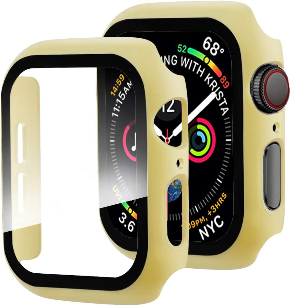 Miimall Compatible with Apple Watch Series 3 2 1 Case with Screen Protector 42mm, Full Coverage Anti-Scratch Screen Protector Matte Protective Case Cover for Apple Watch 42mm Series 3 2 1 Yellow