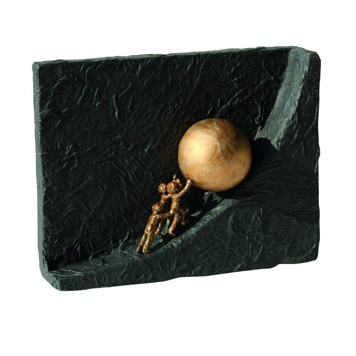 Zusammen etwas bewegen  Bronzeskulptur mit schwarzem Steingusssockel - Lieferung mit Expertise  19 x 14 cm