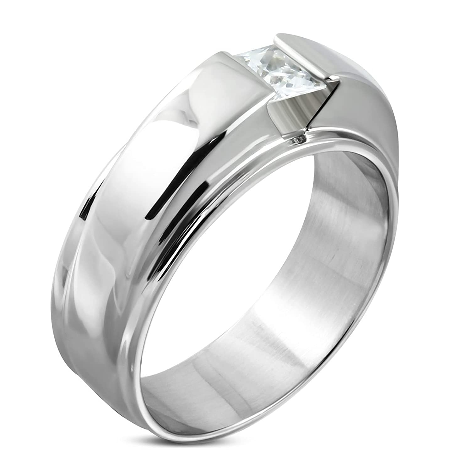 Stainless Steel Compression-Set Double Geometric Ring with Clear CZ