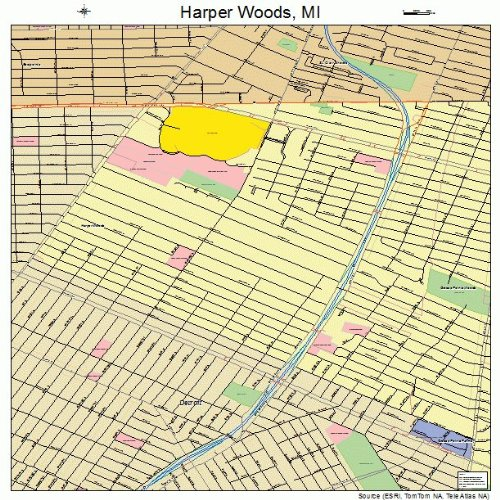 Large Street & Road Map of Harper Woods, Michigan MI - Printed poster size wall atlas of your home - Mi Woods Of Map Harper