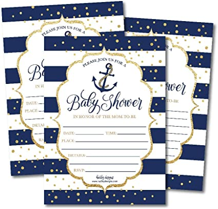Amazon Com 25 Nautical Baby Shower Invitations Sprinkle Invite For Boy Or Girl Gender Neutral Reveal Navy Gold Anchor Theme Cute Printed Fill Or Write In Blank Printable Card Coed Twin Party Paper