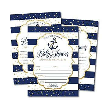 photo relating to Nautical Baby Shower Invitations Printable called 25 Nautical Little one Shower Invites, Sprinkle Invite for Boy or Lady, Gender Impartial Clarify Armed forces Gold
