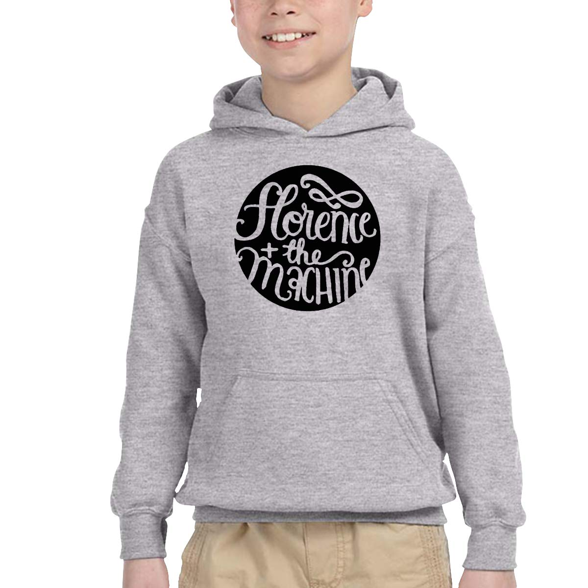 2-6 Year Old Childrens Hooded Pocket Sweater Florence Machine Logo Original Retro Literary Design Gray