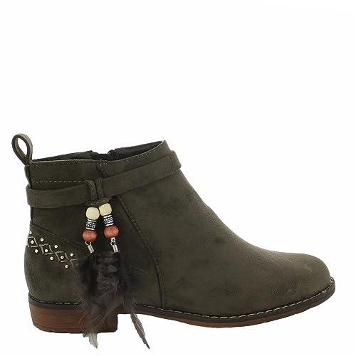 Ideal Shoes – Botines efecto ante con detalles étnicos Tahissia, verde (verde), 37: Amazon.es: Zapatos y complementos