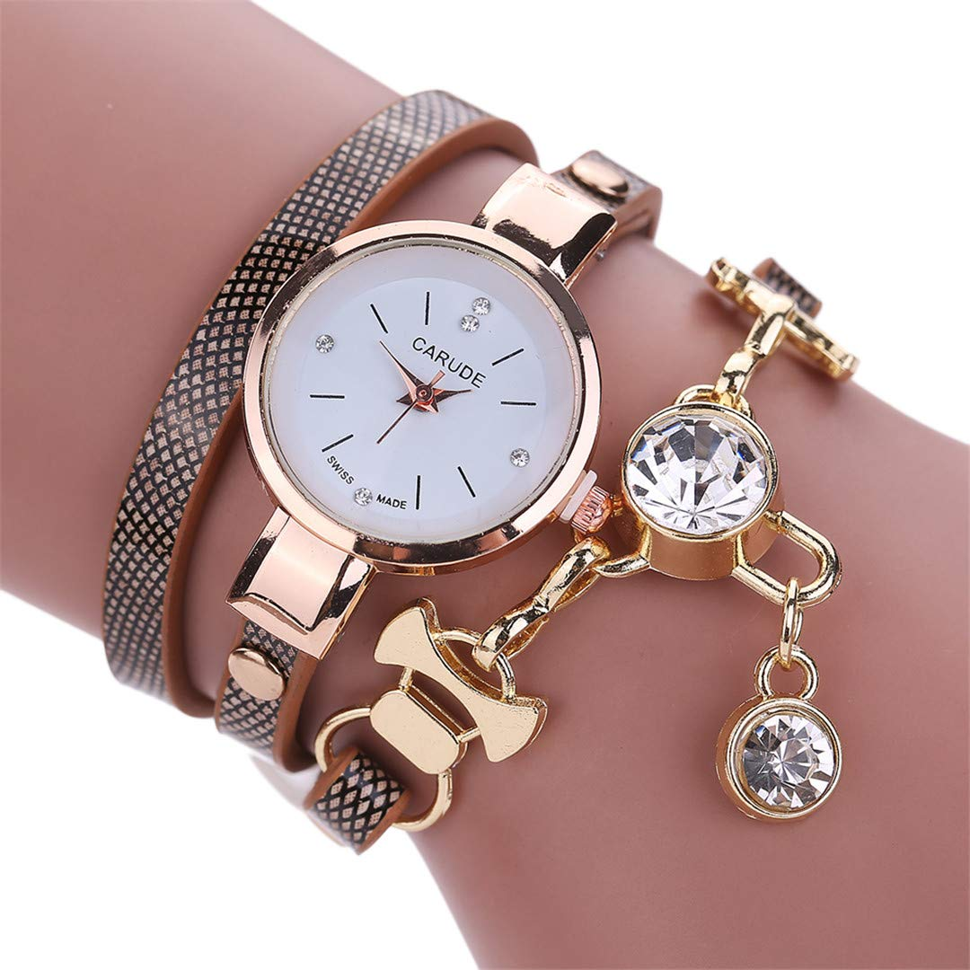 Amazon.com: NEW Fashion Women Watch Bracelet Leather Ladies Watch With Rhinestones Analog Quartz Dress Wrist Watches Gift watch2: Beauty