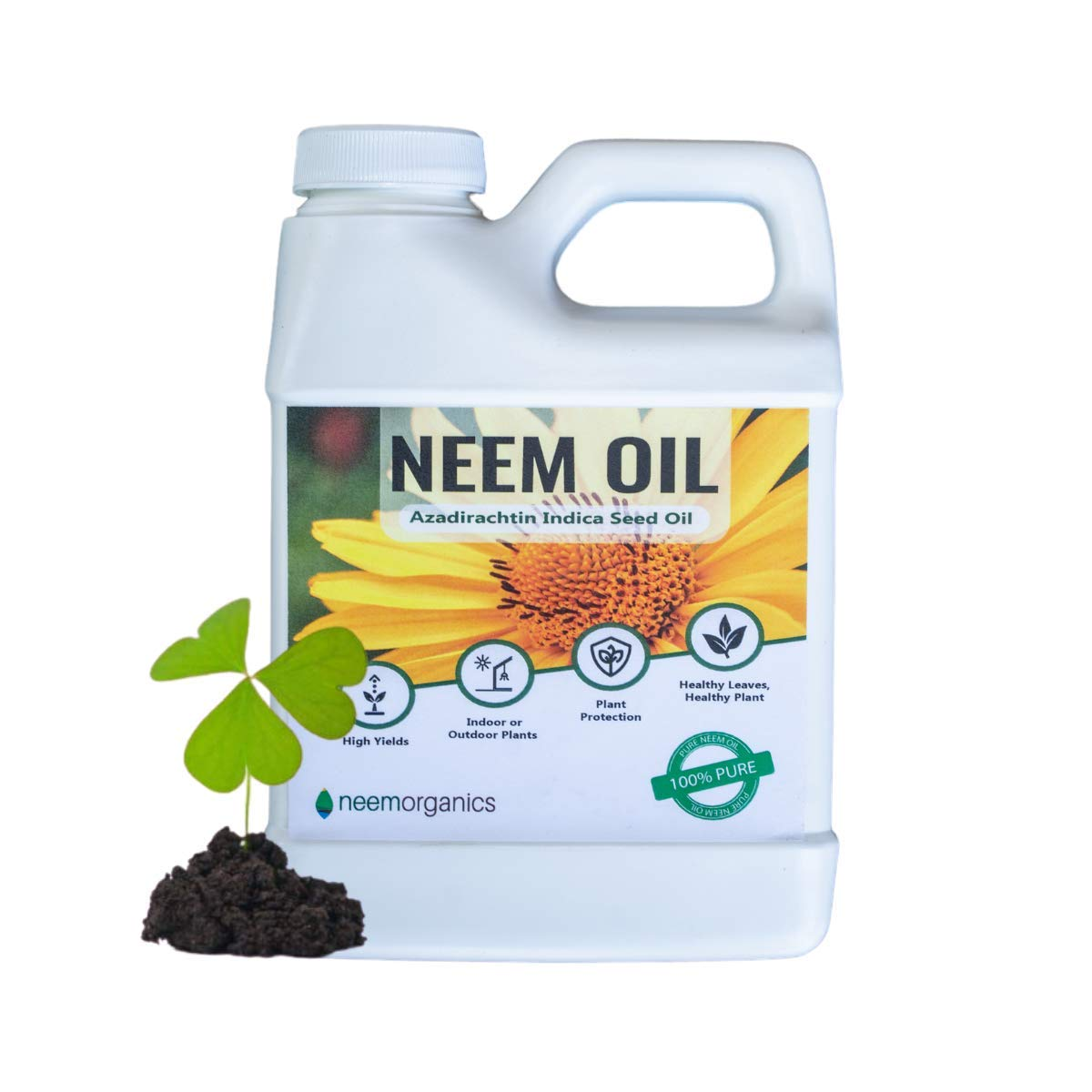 Neem Organics Pure Neem Oil | Neem Oil Spray for Plants | Spray for Indoor & Outdoor Gardens | Organic Cold Pressed Neem Oil (16oz)