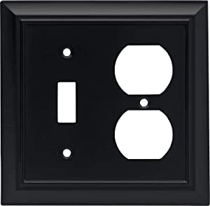 Architectural Single Toggle Switch/Duplex Outlet Wall Plate / Switch Plate / Cover, Flat Black, Packaging May Vary