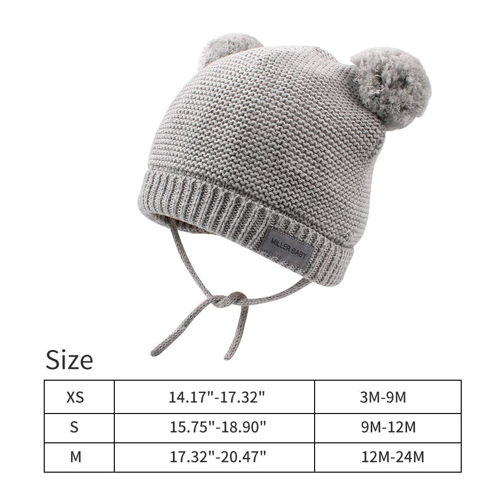 3e6bae1188b Amazon.com  XIAOHAWANG Baby Hats Warm Boys Girls Beanies Winter Toddler Pom  Pom Hat Bear Infant Cotton Lined Christmas  Clothing