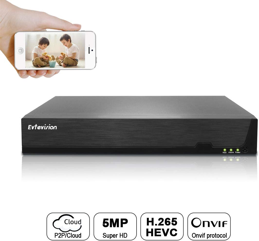 Evtevision 16CH 5MP / 1080P Network Video Recorder 16 Canales CCTV NVR Onvif P2P Quick QR Code Scan w/Easy Remote View Salida HDMI/VGA, Disco Duro no Incluido y sin WiFi Incorporado