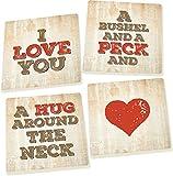 I Love You a Bushel and a Peck 5 x 5 Super Absorbent Ceramic Coasters, Set of 4