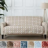 Home Fashion Designs Adalyn Collection Deluxe Reversible Quilted Furniture Protector. Beautiful Print on One Side/Solid Color on the Other for Two Fresh Looks. By Brand. (Sofa/Couch, Taupe)