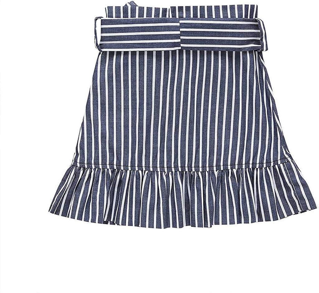 Girls Fashion Summer Irregular Skirt,AutumnFall Toddler Kids Baby Girls Striped Printed Bow Ruffle Short Skirt Clothes