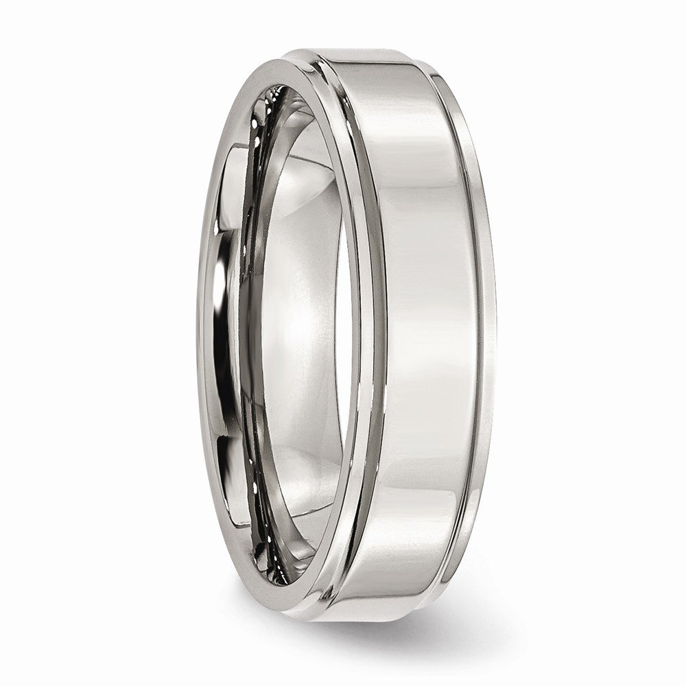 Wedding Bands Classic Bands Flat Bands w//Edge Stainless Steel Ridged Edge 6mm Polished Band Size 8.5