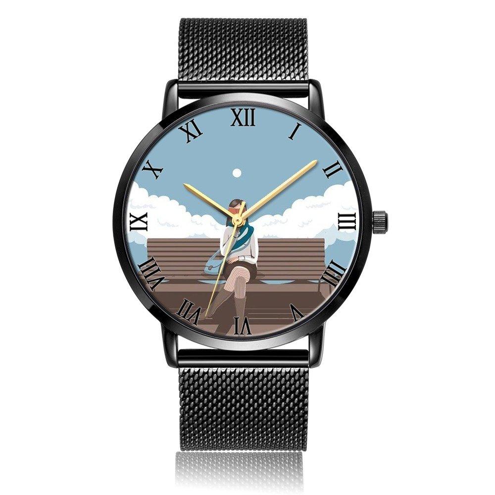 Custom Fashion Dazhi Analog Quartz Wrist Watch, Book Girl Durable Black Steel Bracelet Wrist watch For Women and Men