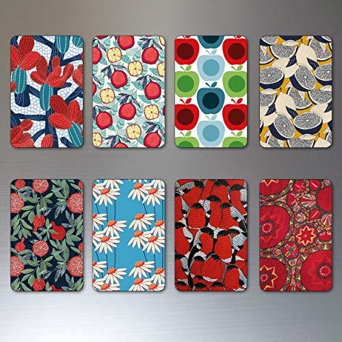 Floral retro mid century prints fridge magnets rounded corners set of 8 ()