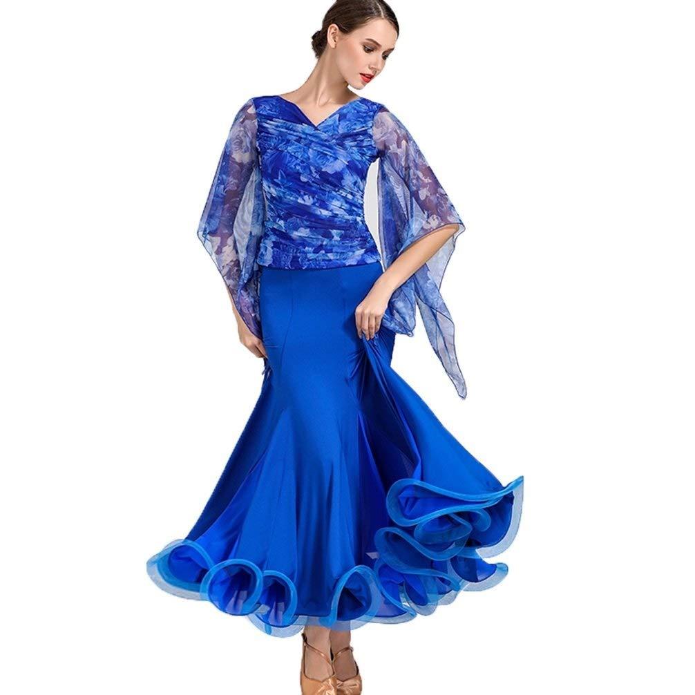 blueee Small Women's Modern Dance Waltz Skirts Suit,Printed Ballroom Dance Performance Competition 2 Pcs