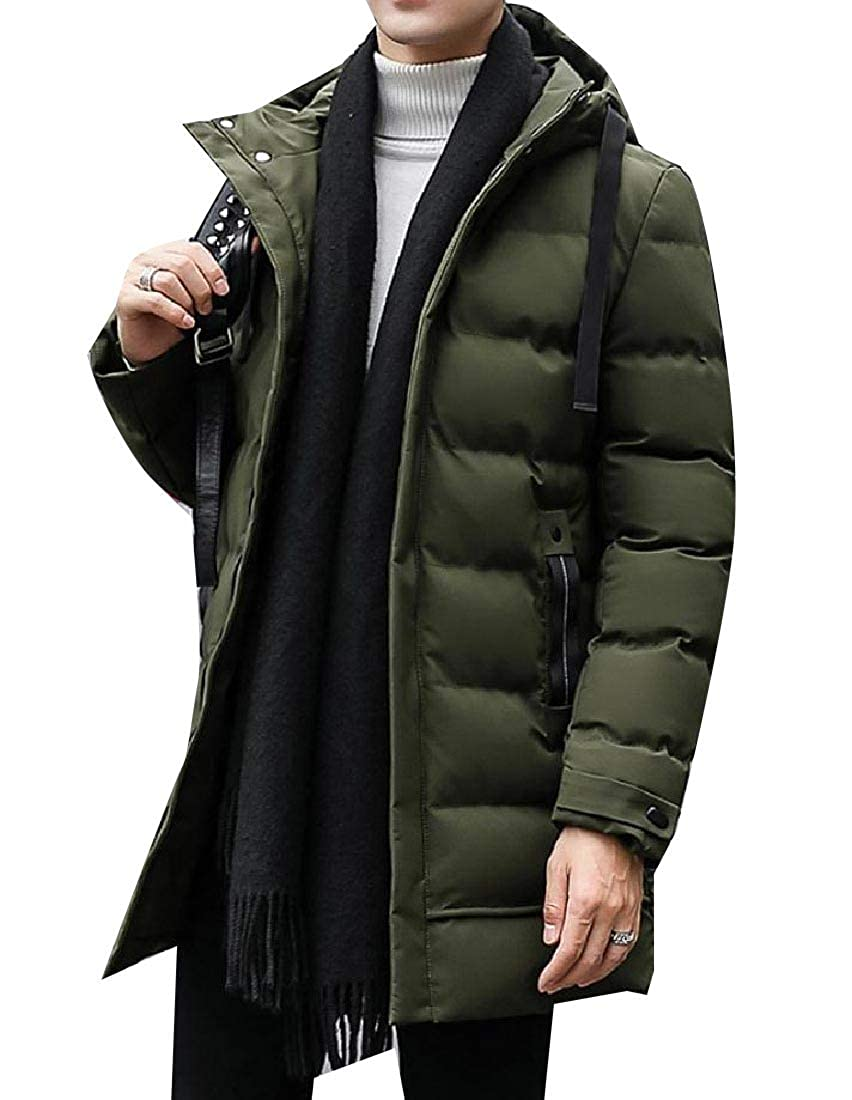 YUNY Men Warm Relaxed Fit Brumal Slim Fit Mid-Long Zip Up Puffer Coat Army Green L