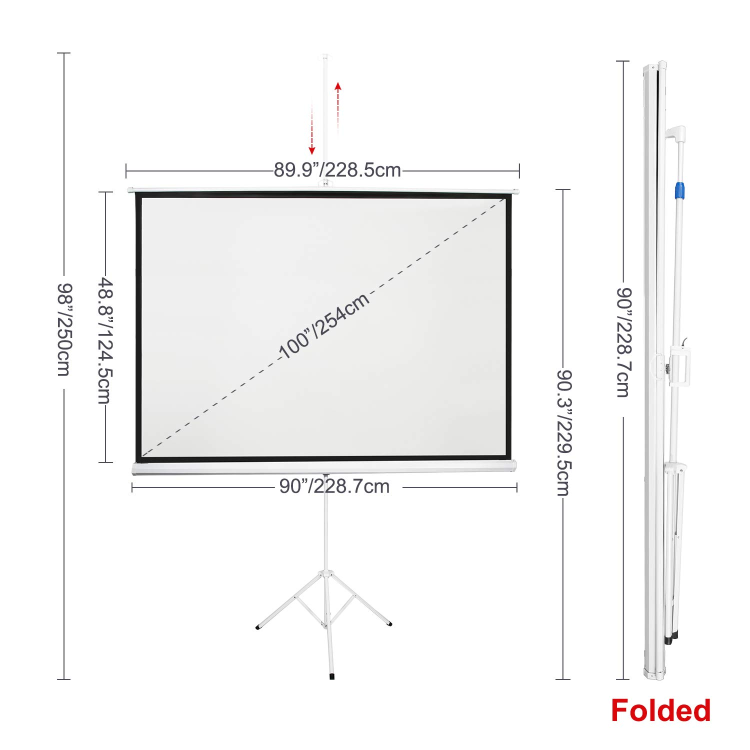 160/° Viewing Angle Indoor Outdoor Foldable Portable Projection Screen 4K HD with Premium Wrinkle-Free Design: 1.1 Gain Neewer 100-inch 16:9 Projector Screen with Stand No Carrying Bag