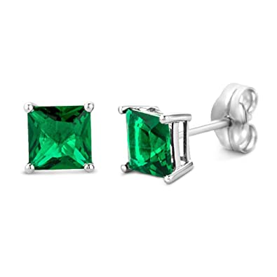 Miore Earrings Women Yellow Gold studs Solitaire Emerald 9 Kt/375 v9nxv