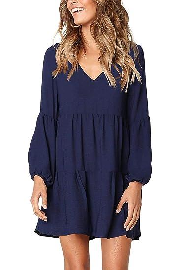 109d9bd434f Myobe Women's V Neck Ruffle Long Sleeve Cute Swing Casual Tunic Flowy Shift  Dress (M