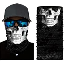 Durable Thin Breathable Dust-proof UV Protection for Men Women Halloween Outdoor Cycling Fishing Skiing Nuoxinus Skull Motorcycle Face Mask Half Seamless 3D Tube Mask Skeleton Balaclava Bandana