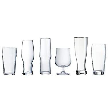 Luminarc 6 Piece Arc International Assorted Craft Brew Glasses Set, Clear