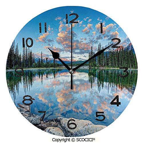 - SCOCICI 10 inch Round Clock Long View of Golden Sunrise Skyline at Pyramid Lake Tranquil Canadian Scenery Unique Wall Clock-for Living Room, Bedroom or Kitchen Use