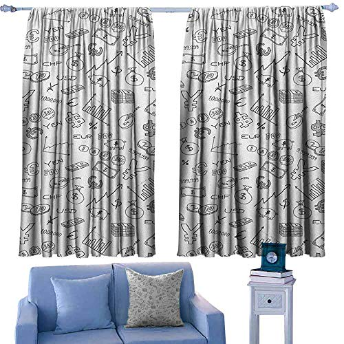 Mannwarehouse Money Drapes for Living Room Monochrome Pattern with Euro Dollar Yen Symbols Coins Piggy Bank Stock Graphs Doodle Noise Reducing 72