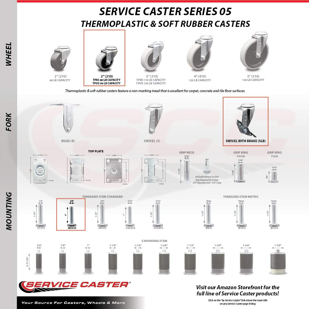 500 lbs Set of 4 Total Capacity Service Caster 4 Inch Swivel Thermoplastic Rubber Casters and 3//8-16 TPI x 1.5 Threaded Stem