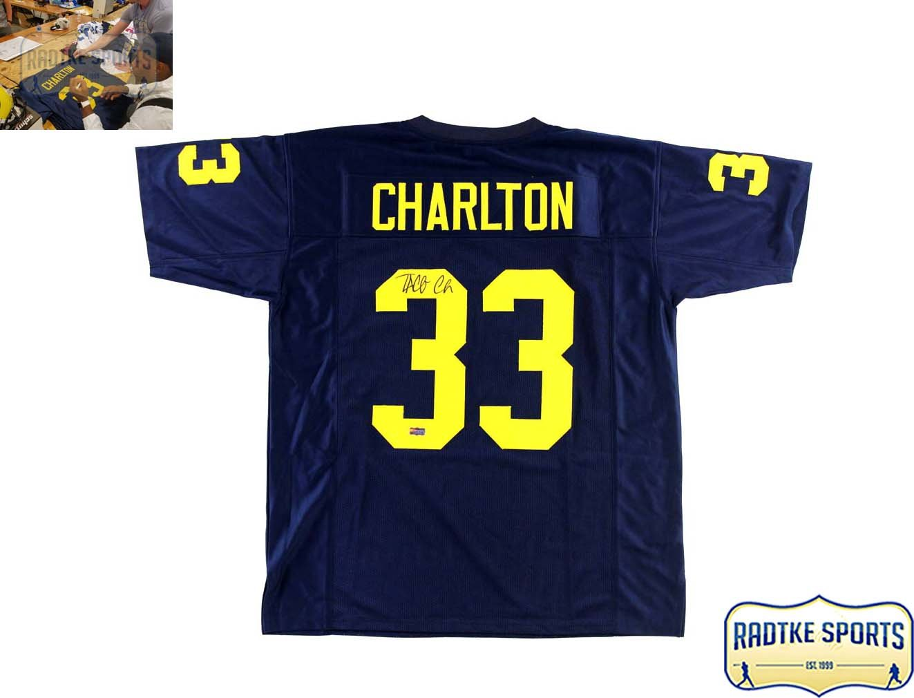 Taco Charlton Autographed Signed Michigan Blue Custom Jersey at Amazon s  Sports Collectibles Store 215117ecf